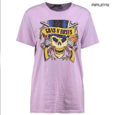 Official Unisex T Shirt Guns n Roses Vintage TOPHAT Skull Lilac Purple All Sizes