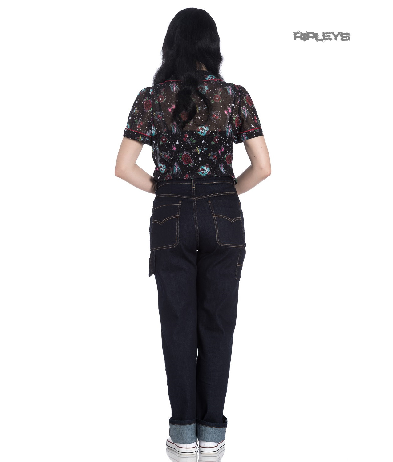 Hell-Bunny-40s-50s-Navy-Blue-Denim-CARPENTER-Jeans-Trousers-All-Sizes thumbnail 4