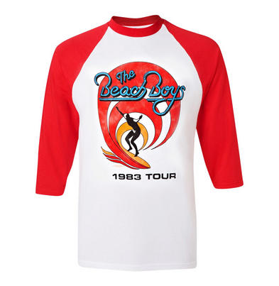Official Unisex T Shirt The Beach Boys Raglan Baseball RED Tour 1983 All Sizes