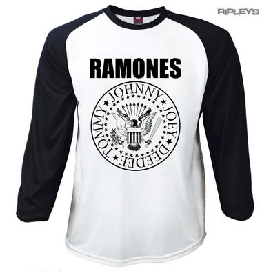 Official T Shirt THE RAMONES Classic Seal BOLD Black Raglan Baseball