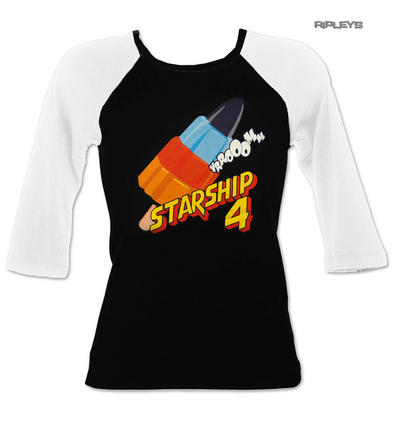Official Ladies Raglan T Shirt Wall's Ice Cream STARSHIP 4 Rocket Retro All Size