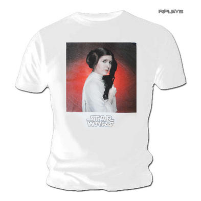 Official Unisex T Shirt STAR WARS White Vintage LEIA Photo All Sizes