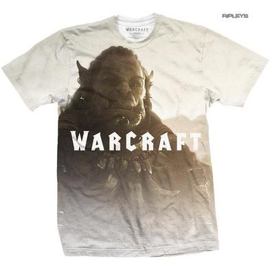 Official Unisex White T Shirt World Of WARCRAFT Sublimation Orc Durotan All Size
