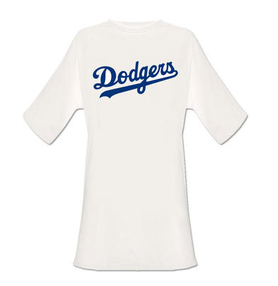 Official Ladies T Shirt White Oversized DODGERS Dress Classic Logo All Sizes