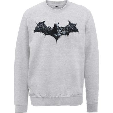 Official Pullover Sweatshirt DC Comics SWEATER Batman 'Logo' Grey All Sizes
