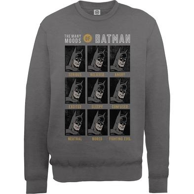 Official Pullover Sweatshirt DC Comics SWEATER Batman 'Moods' Grey All Sizes