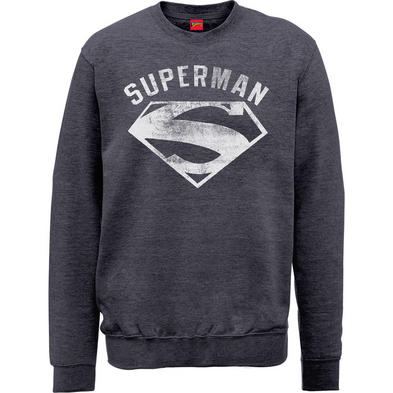 Official Pullover Sweatshirt DC Comics SWEATER Superman 'Logo' Grey All Sizes