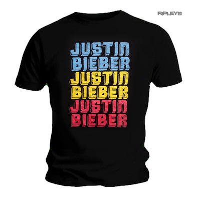 Official T Shirt Purpose JUSTIN BIEBER Black Neon 'Repeat' Logo  All Sizes