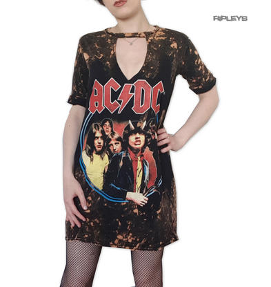 Official Ladies T Shirt Dress ACDC Circle Black Brown Splatter Grunge All Sizes