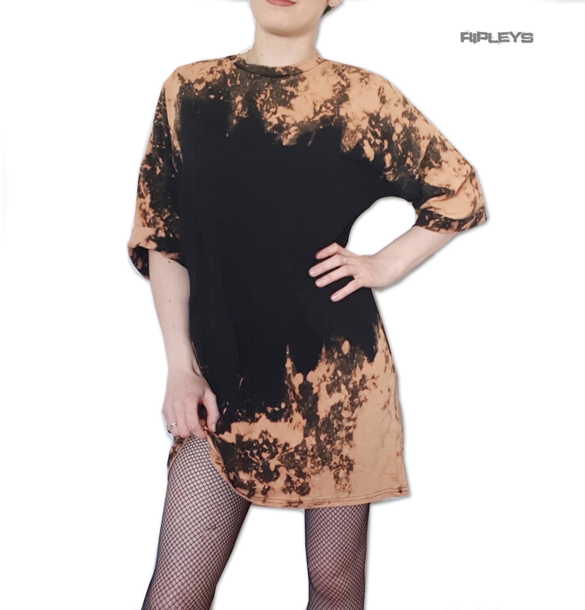 0e9be5d807e8 Sentinel Official Ladies Oversized T Shirt Dress GRUNGE Black Brown  Splatter All Sizes