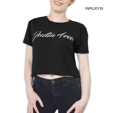 Official Ladies Skinny Short T Shirt Justin Bieber 4 Eva CROPPED Black All Sizes