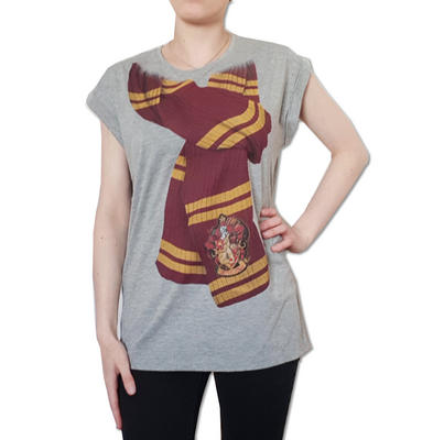 Official Ladies Oversized T Shirt Harry Potter Gryffindor House SCARF Grey