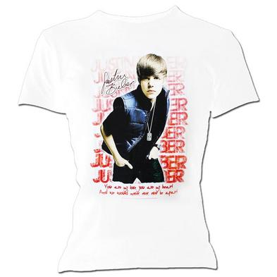 Official Ladies Skinny T Shirt JUSTIN BIEBER White & Pink 'Fade' All Sizes