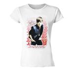 Official Ladies Skinny T Shirt JUSTIN BIEBER White & Pink 'Fade' All Sizes Thumbnail 1
