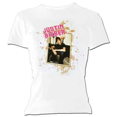 Official Ladies Skinny T Shirt JUSTIN BIEBER White 'Photo' Splatter All Sizes