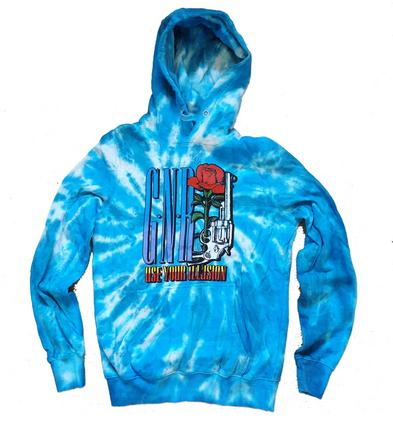 Official Hoodie Hoody GUNS N ROSES Illusion Tour 91 Tie Dye Blue All Sizes