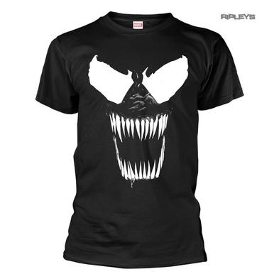Official T Shirt Marvel Comics VENOM Movie Black Evil Face 'Bare Teeth'
