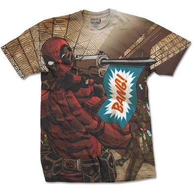 Official T Shirt DEADPOOL Marvel Comic Gun BANG! Sublimation All Sizes Preview
