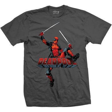 Official T Shirt DEADPOOL Marvel Comic 'Logo Jump' Grey All Sizes Preview