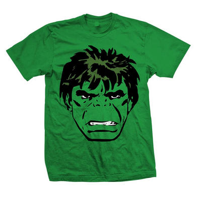 Official T Shirt Marvel HULK Face 'Comic' Green All Sizes