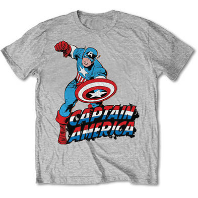 Official T Shirt Marvel CAPTAIN AMERICA Grey Classic 'Comic' All Sizes Preview