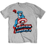 Official T Shirt Marvel CAPTAIN AMERICA Grey Classic 'Comic' All Sizes Thumbnail 1
