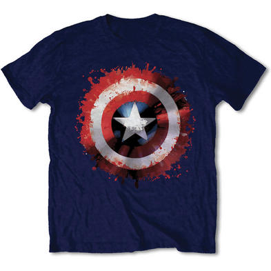 Official T Shirt Marvel CAPTAIN AMERICA Blue Shield 'Splatter' All Sizes Preview