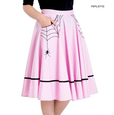 Hell Bunny Spider Webs 50s Skirt MISS MUFFET Halloween Goth Pink All Sizes