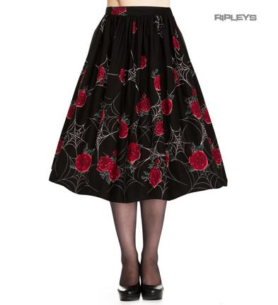 Hell Bunny Spider Webs Gothic 50s Black Skirt SABRINA Roses All Sizes