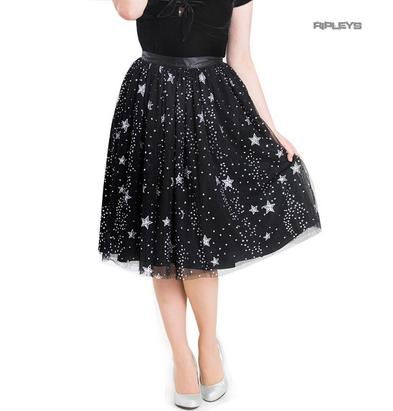 Hell Bunny 50s Black Twinkly Sparkly Skirt COSMIC LOVE Glitter Stars All Sizes Preview