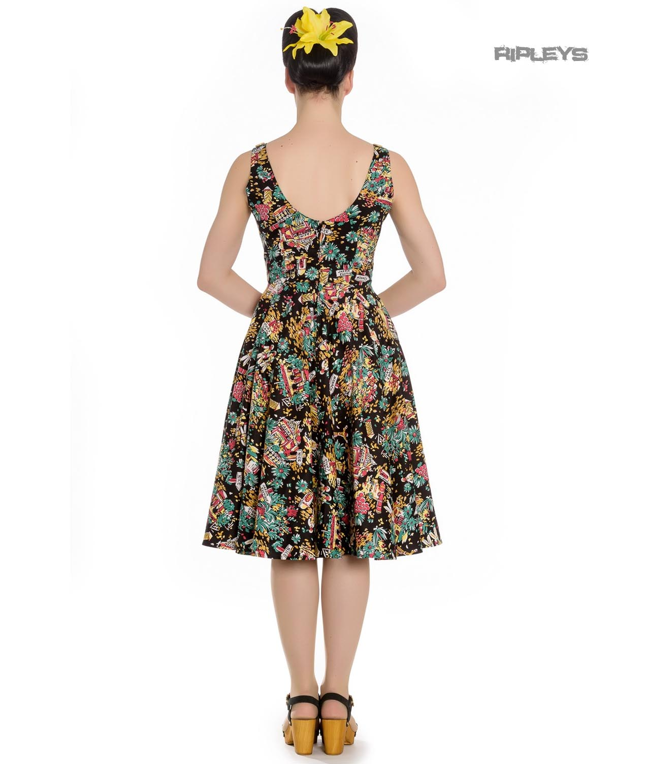 Hell-Bunny-Summer-50s-Black-Dress-MONTE-CARLO-Tropical-Holiday-All-Sizes thumbnail 4