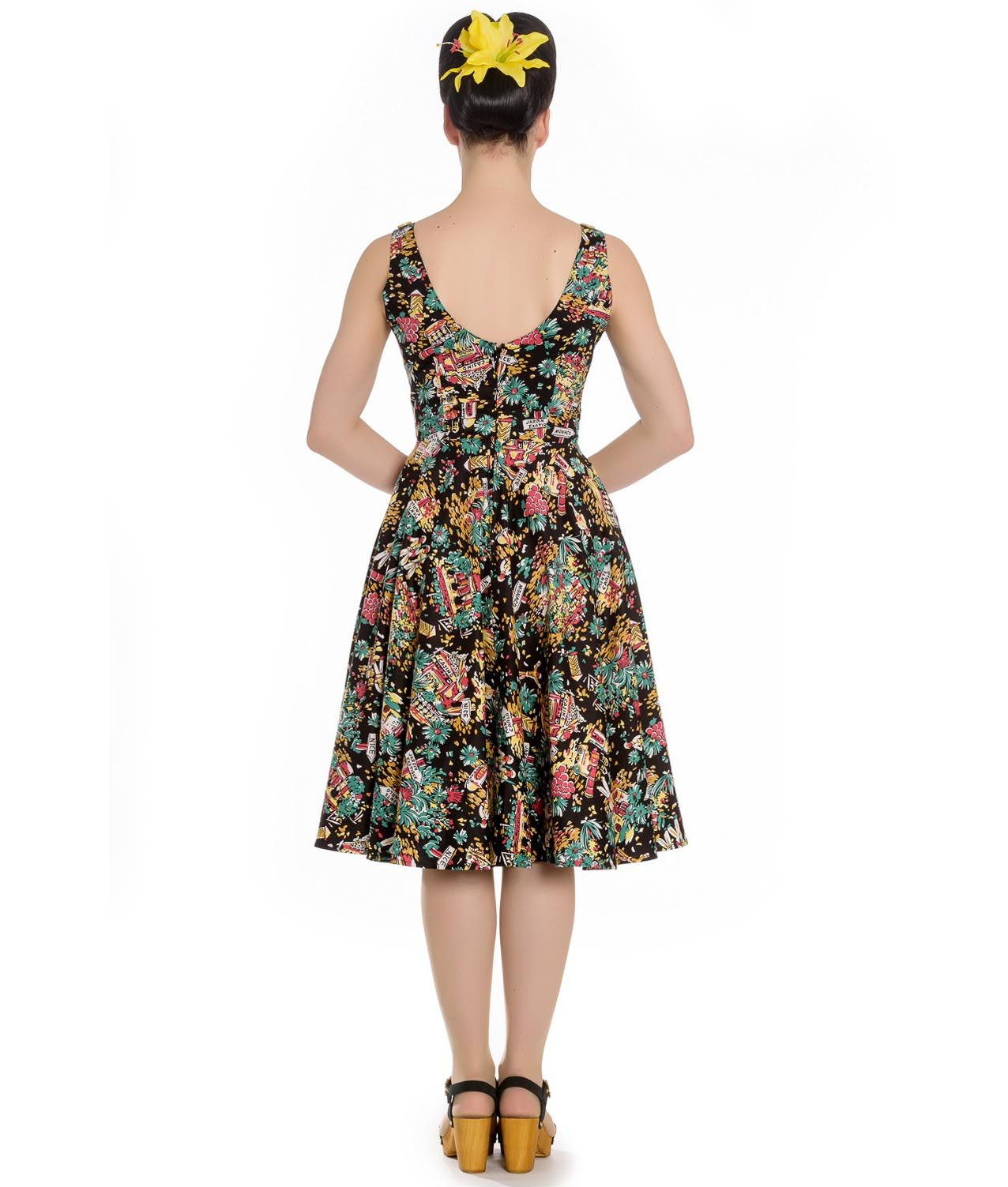 Hell-Bunny-Summer-50s-Black-Dress-MONTE-CARLO-Tropical-Holiday-All-Sizes thumbnail 5