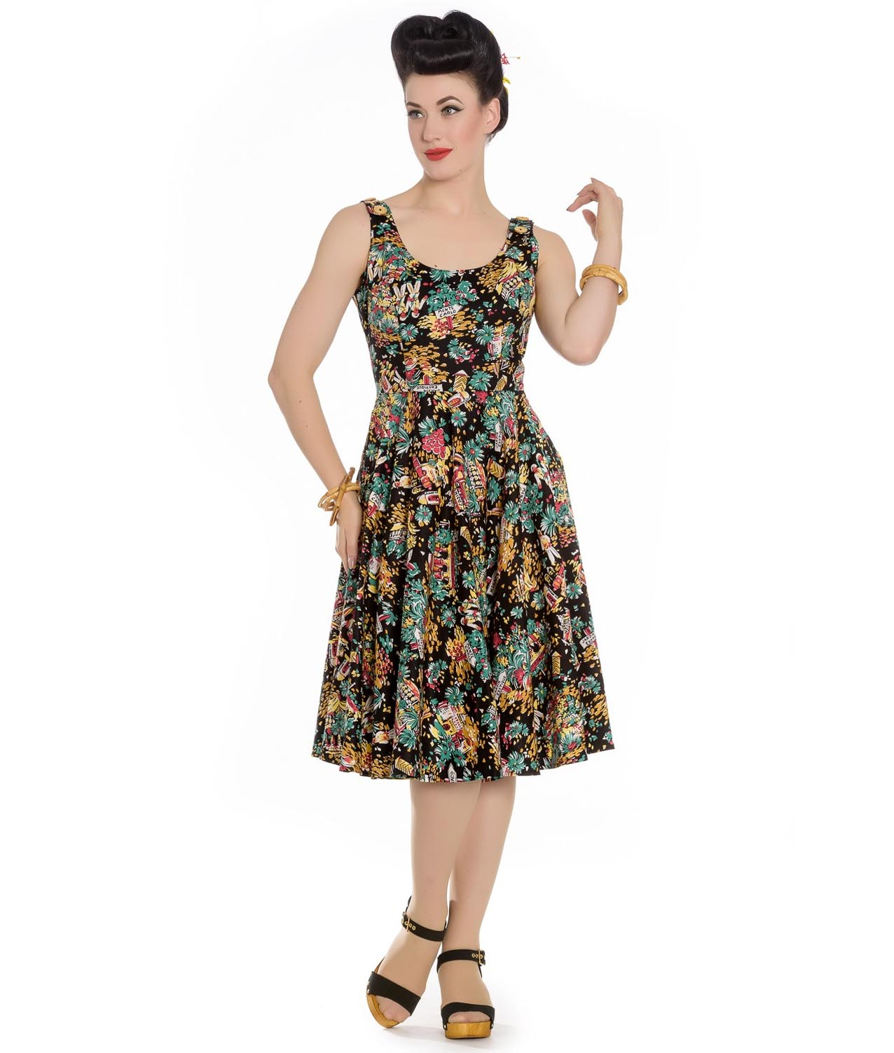 Hell-Bunny-Summer-50s-Black-Dress-MONTE-CARLO-Tropical-Holiday-All-Sizes thumbnail 7