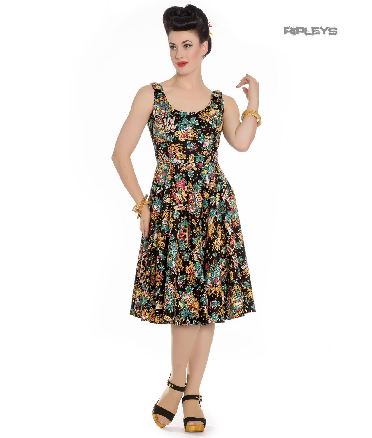Hell-Bunny-Summer-50s-Black-Dress-MONTE-CARLO-Tropical-Holiday-All-Sizes thumbnail 6