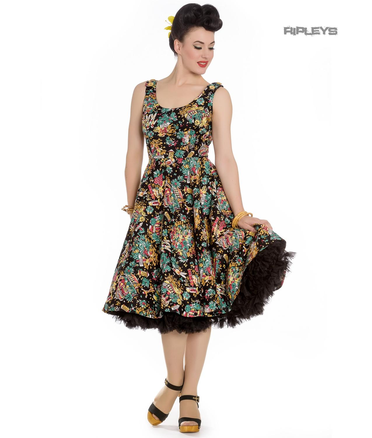 Hell-Bunny-Summer-50s-Black-Dress-MONTE-CARLO-Tropical-Holiday-All-Sizes thumbnail 2