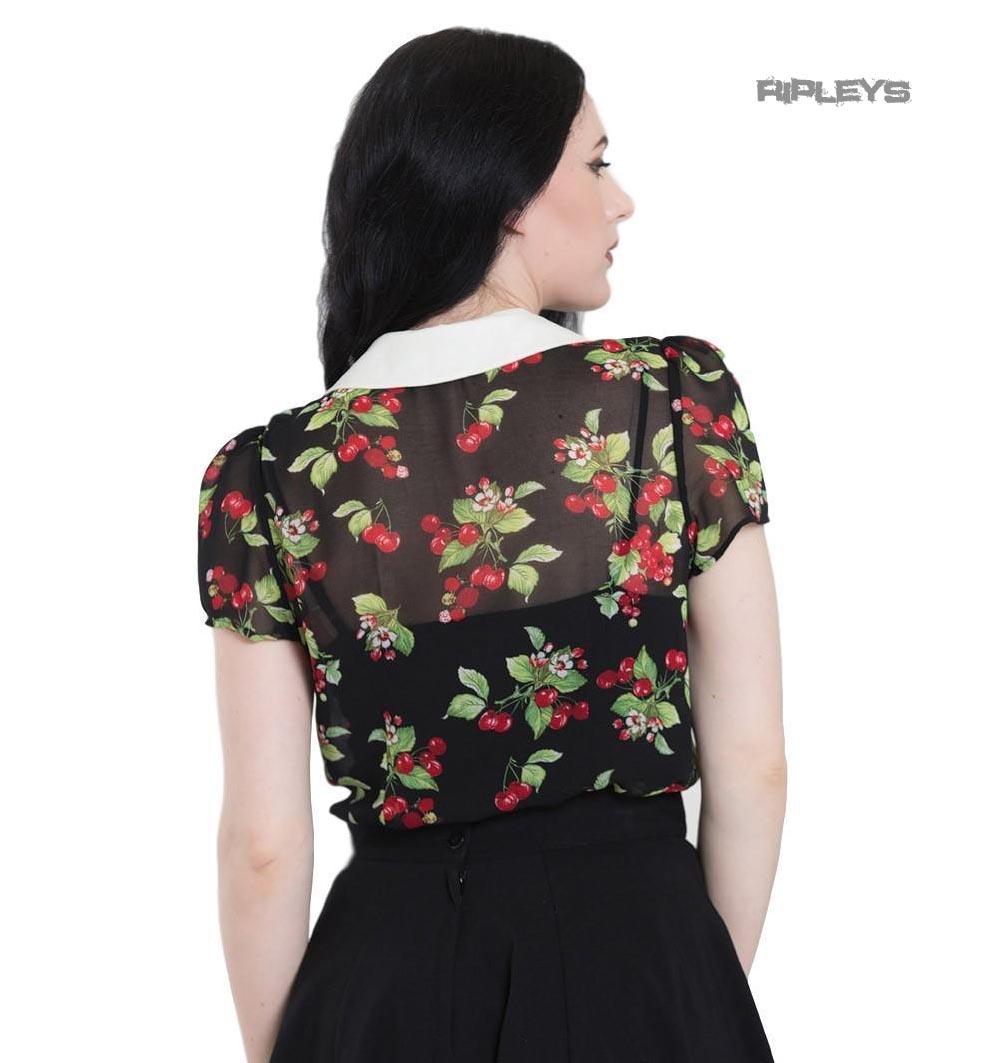 Hell-Bunny-Shirt-Top-Black-Rockabilly-50s-CHERIE-Blouse-Cherries-All-Sizes thumbnail 4
