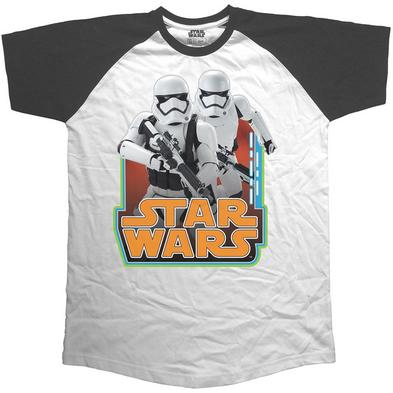 Official Unisex T Shirt STAR WARS Baseball Raglan BLACK Stormtroopers Preview