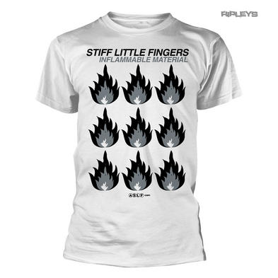 Official T Shirt Stiff Little Fingers   Inflammable Material #2 White All Sizes