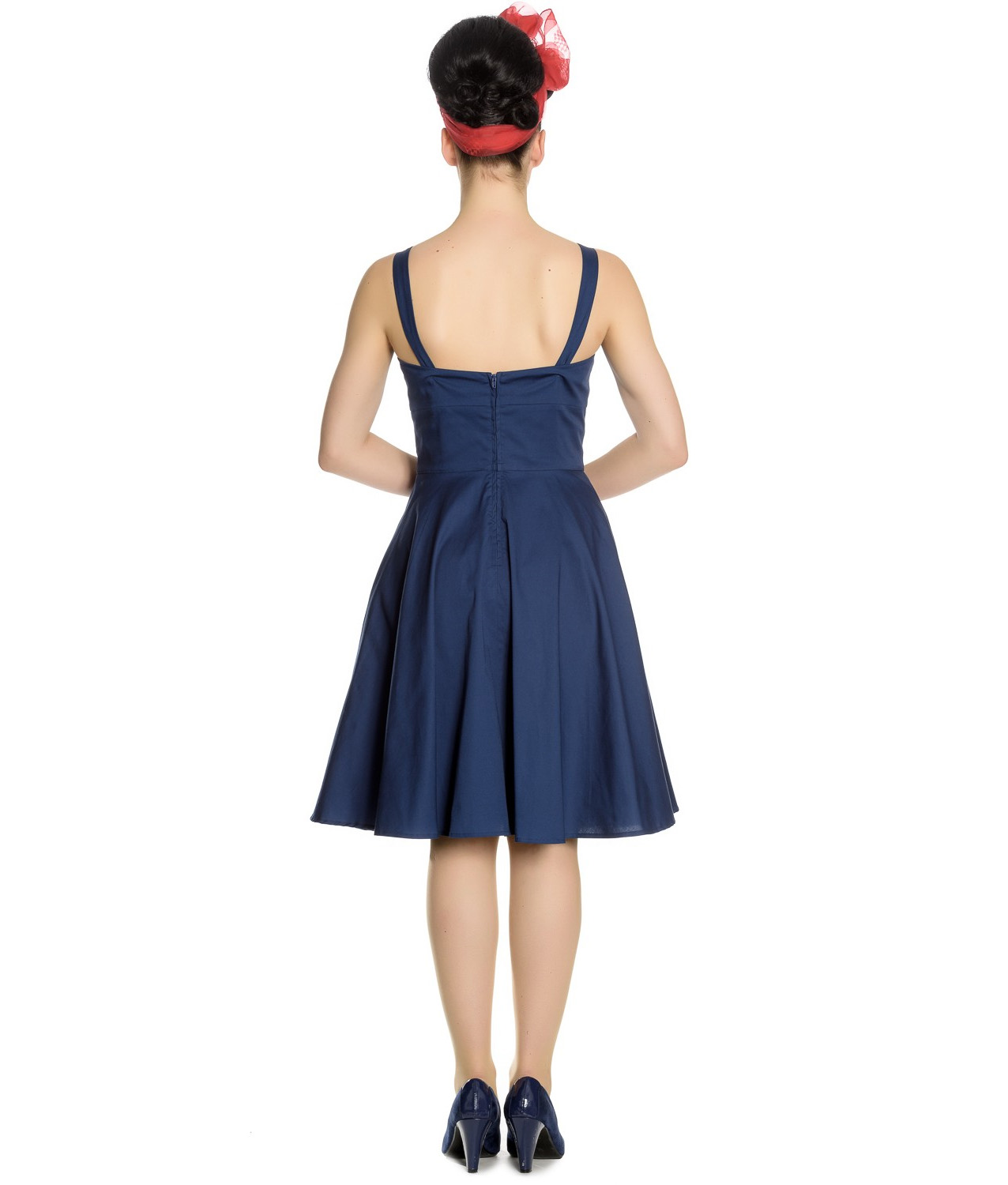 Hell-Bunny-Vintage-50s-Pin-Up-Dress-Navy-Blue-SELA-Nautical-Anchors-All-Sizes thumbnail 9