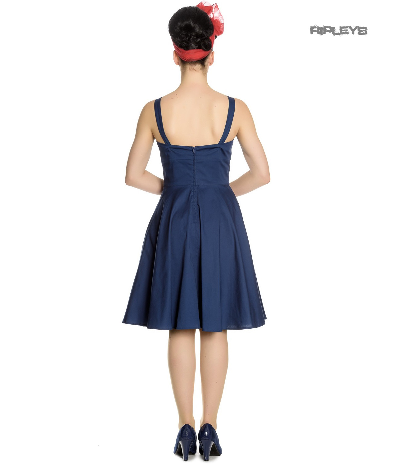 Hell-Bunny-Vintage-50s-Pin-Up-Dress-Navy-Blue-SELA-Nautical-Anchors-All-Sizes thumbnail 8