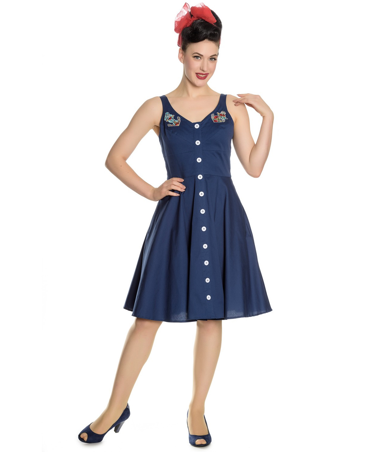 Hell-Bunny-Vintage-50s-Pin-Up-Dress-Navy-Blue-SELA-Nautical-Anchors-All-Sizes thumbnail 23