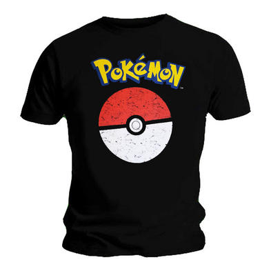 Official T Shirt POKEMON Anime Classic Pokeball Distressed Logo