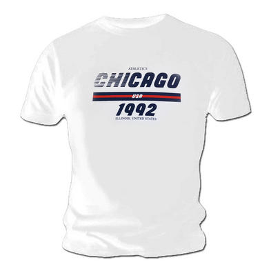 Official T Shirt Classic White Athletics CHICAGO USA 1992 Sportswear Preview