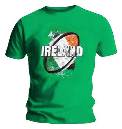 Official Sports T Shirt RUGBY Ball Flag Green IRELAND Logo All Sizes