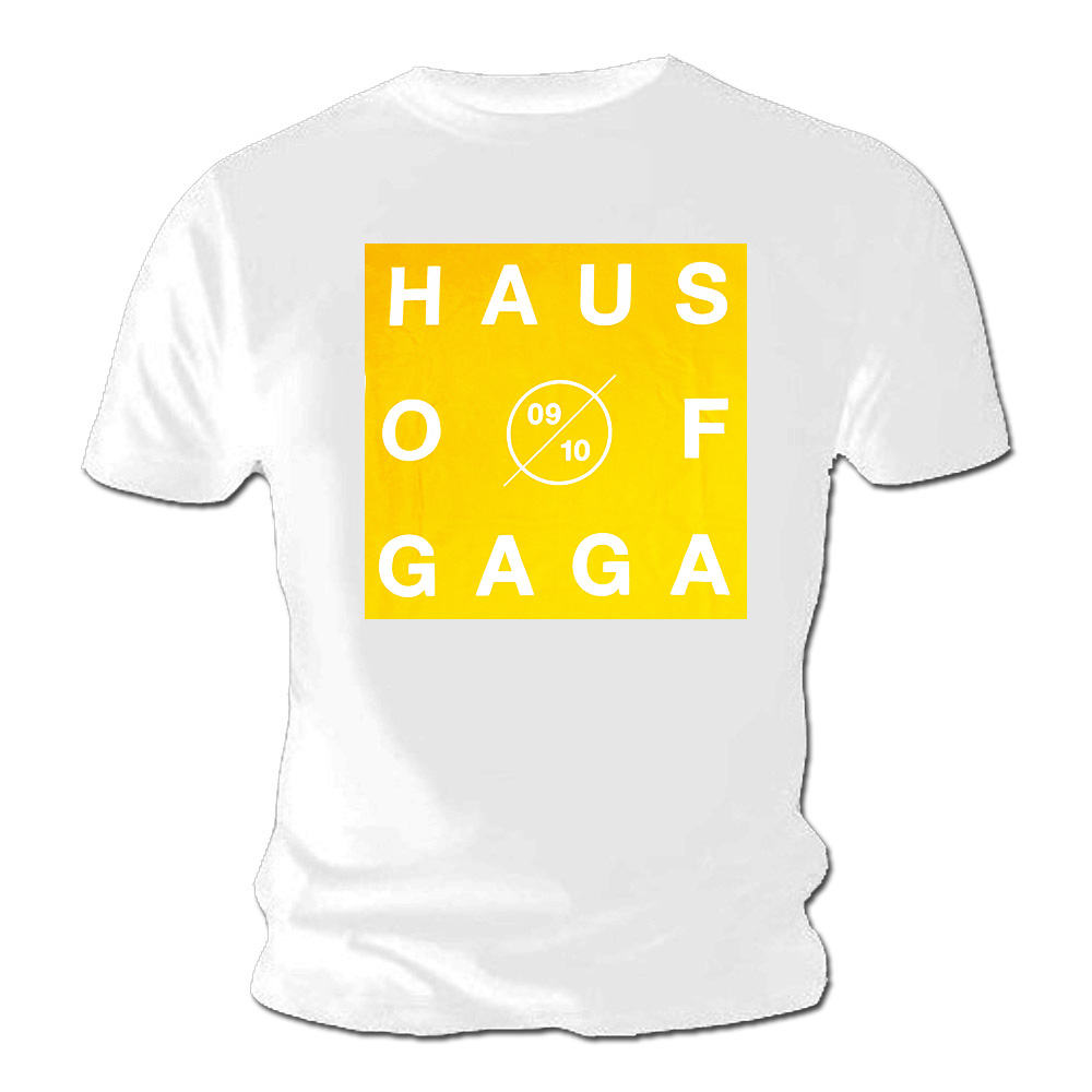 Official Unisex White T Shirt Lady Gaga Haus Of Gaga Tour Yellow