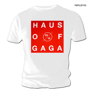 Official Unisex White T Shirt LADY GAGA 'Haus of Gaga' Tour Red Preview