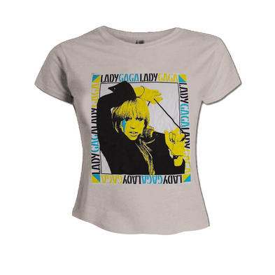 Official Skinny T Shirt LADY GAGA Born This Way 'Just Dance' Portrait Biege  Preview