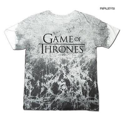 Official Unisex White T Shirt Game of Thrones CRACKED Sublimation All Sizes