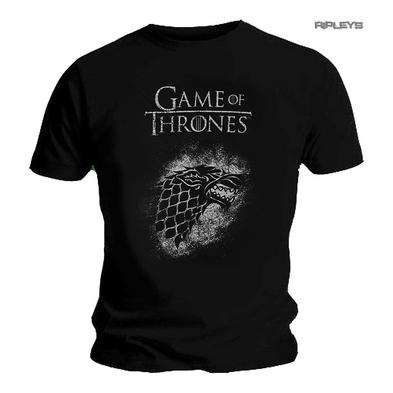 Official Unisex T Shirt Game of Thrones Black SPRAY House Stark Direwolf Preview