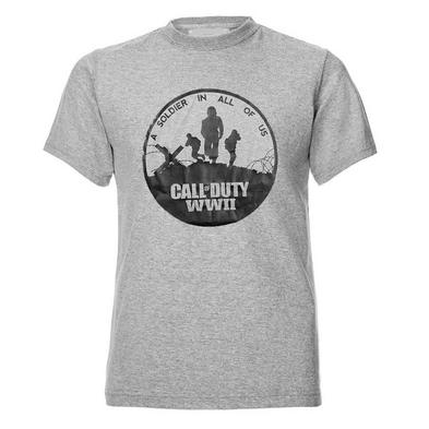 Official Unisex T Shirt Call of Duty WWII Infinate Warfare 'Soldier' Grey
